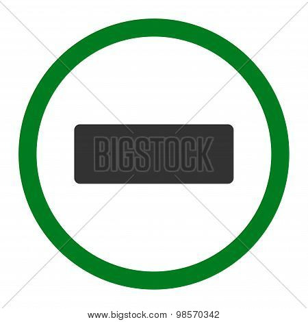 Minus flat green and gray colors rounded vector icon