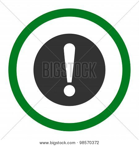 Problem flat green and gray colors rounded vector icon