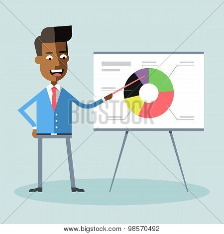 African american manager gives presentation