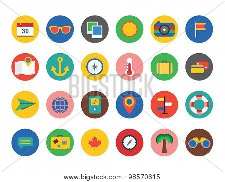 Vacation summer travel icon set. Summer, holiday, umbrella, plain, baggage, sea, bag, palm, globe, map, travel, hotel, calendar, camera, anchor, cocktail, interface icons. Logo icons. Icons set
