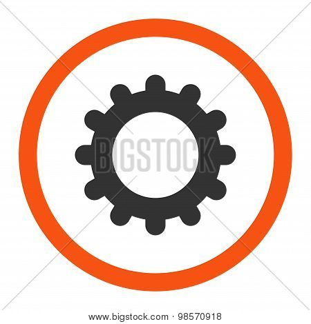 Gear flat orange and gray colors rounded vector icon