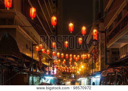 Chinese Market With Lanterns At Night
