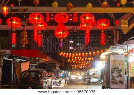 Chinese Market With Red Lanterns At Night