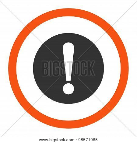 Problem flat orange and gray colors rounded vector icon