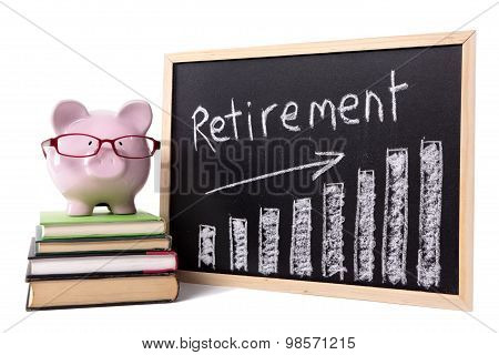 Piggy Bank With Retirement Savings Chart