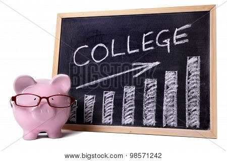 Piggy Bank With College Savings Or Fees Chart