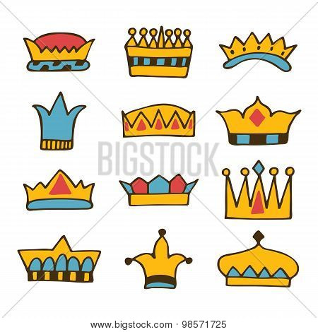 Doodle Set Of Crowns. Hand Drawn Crowns