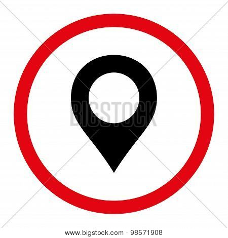Map Marker flat intensive red and black colors rounded vector icon