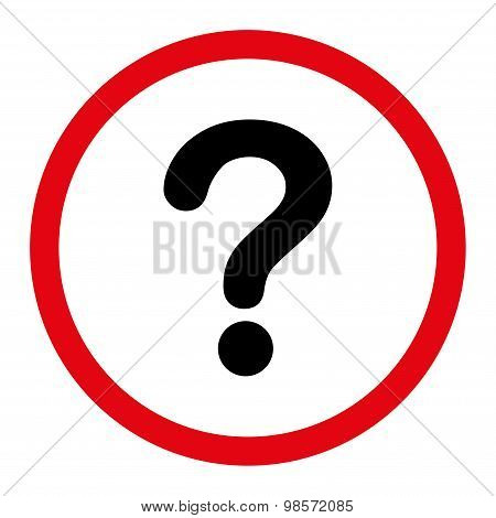 Question flat intensive red and black colors rounded vector icon