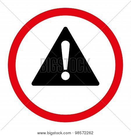 Warning flat intensive red and black colors rounded vector icon