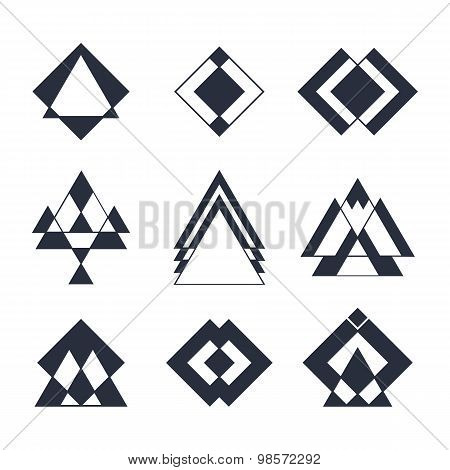 Set Of Trendy Hipster Geometric Shapes. Geometric Logotypes Or Icons Collection. Ethnic Tattoo