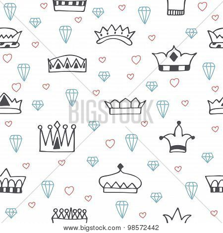 Vintage Seamless Pattern With Hand Drawn Crowns, Diamonds And Hearts. Seamless Pattern Old School Ta