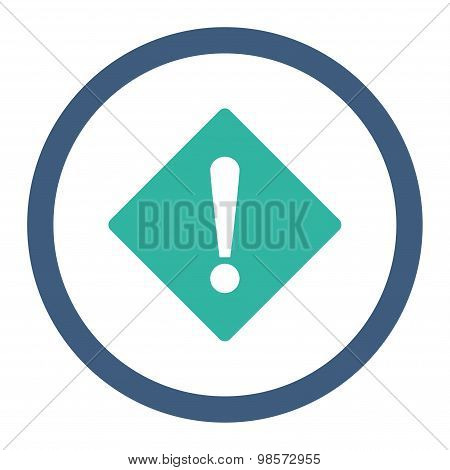 Error flat cobalt and cyan colors rounded vector icon