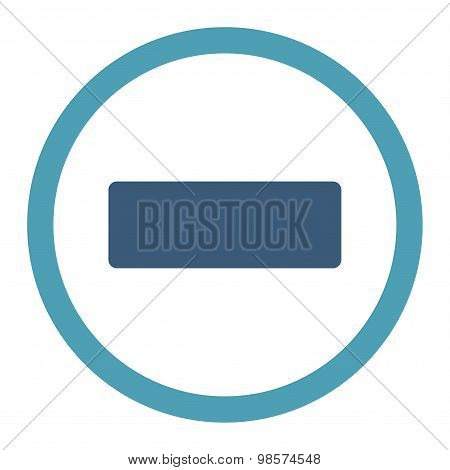 Minus flat cyan and blue colors rounded vector icon