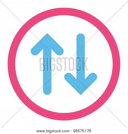 Flip flat pink and blue colors rounded vector icon