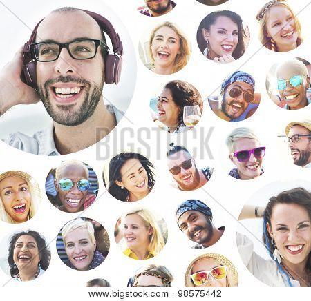 Portrait of Diverse Multiethnic Cheerful People