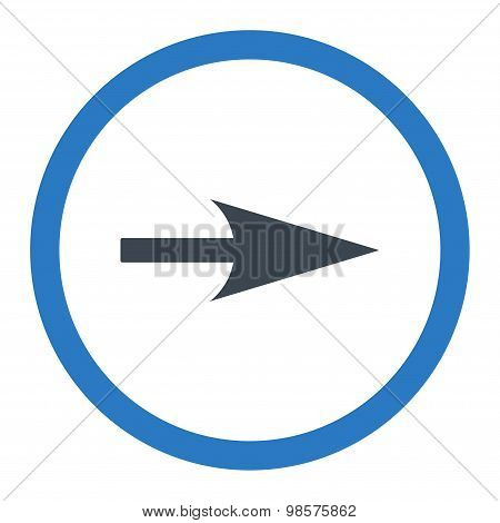 Arrow Axis X flat smooth blue colors rounded vector icon