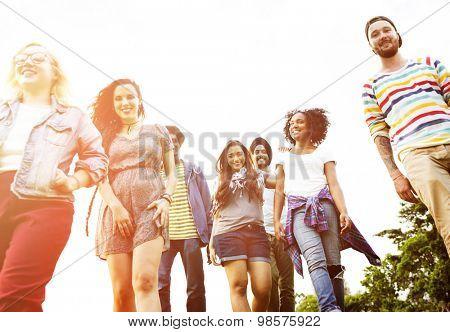 Friends Friendship Walking Park Togetherness Fun Concept