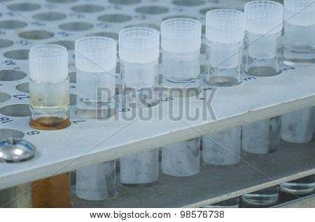 Sample Vial In Aluminum Rack