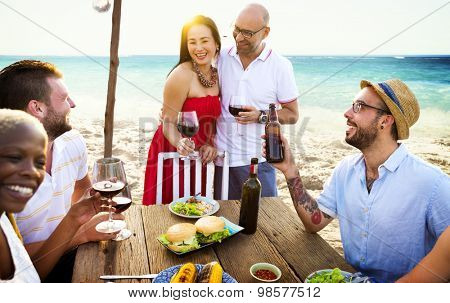 Couple Party Hostess Friends Hanging out Concept