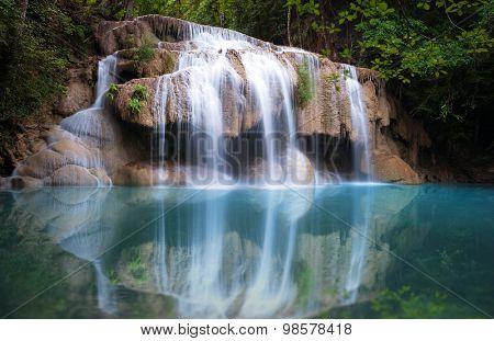 Thailand nature background. Beautiful waterfall in rainforest