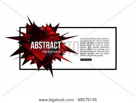 Red isolated template poster with triangular shapes, black frame and place for text.  Creative desig