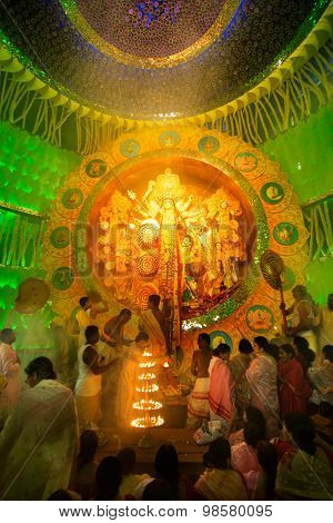 Kolkata , India - October 2, 2014 : Durga Puja Festival