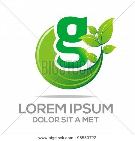 Abstract logo Design Letter G Ecology Leaf Symbol Icon