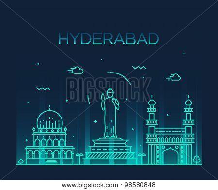 Hyderabad skyline vector illustration linear