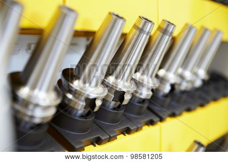 Close Up Of Precision Tools Used On CNC Machinery