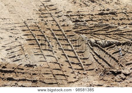 Wheel Tracks On A Dirt Road