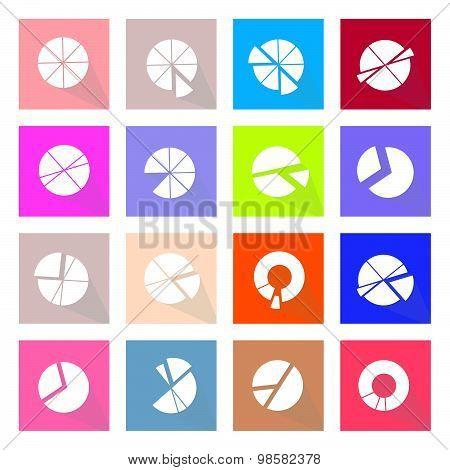 Set Of 16 Pie Chart Icons Banner