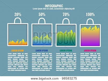 Infographic with bag and percents