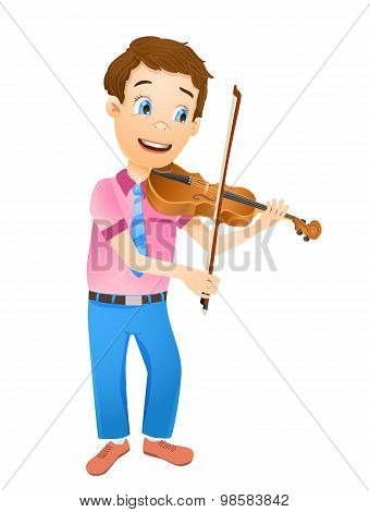 Cartoon Young Smiling Boy Playing Violin. Vector Illustration