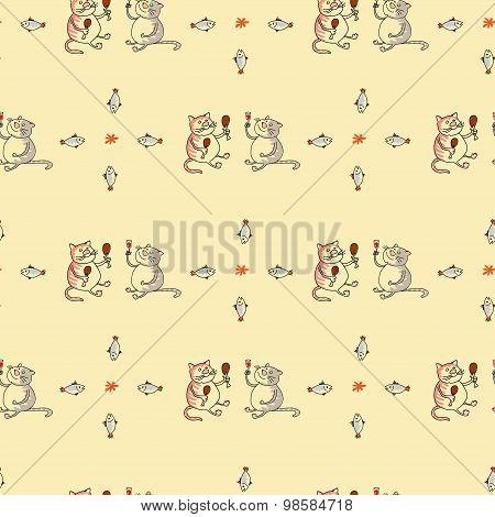 Seamless pattern cat and wine