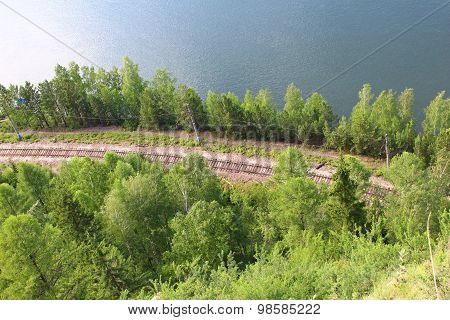 The railway by the river Yenisei, top view