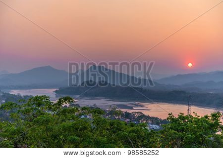 Beautiful Sunset Over Lake In Luang Prabang, Laos