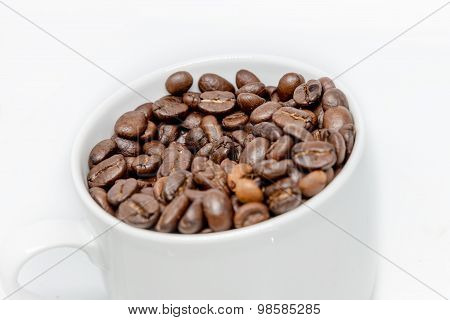 Coffee Beans Seed In White Cup Isolated Highkey