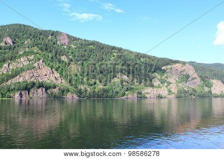 Rocks on the bank of the Yenisei River in Divnogorsk