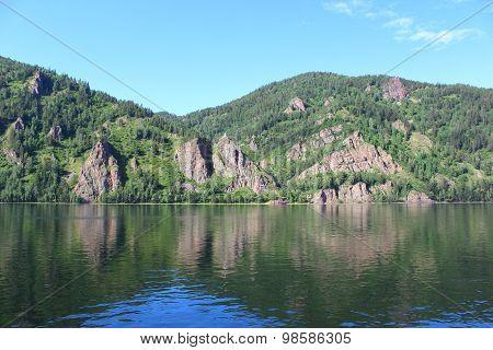 Rocky coast in the Yenisei River near the city of Divnogorsk