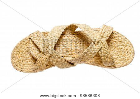 Sandals Made From Reed Plant Isolated On White Background