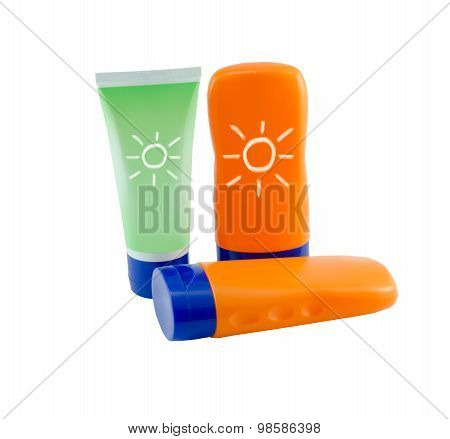 Summer Concept : Beach Items - Bottles With Sunblock Lotion Isolated On White