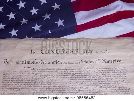 American Constitution with US Flag We The People
