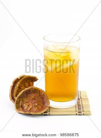 Bael Juice, Ice Tea Isolate On White