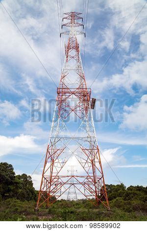 Pylons Of A High Voltage Power Line. Production And Transport Of Energy..