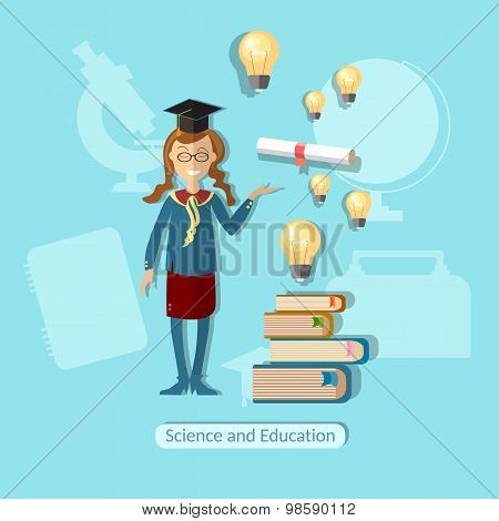 Education Concept Schoolgirl, Diploma, Power Of Knowledge, Uniform, School Bag, Lessons, Training