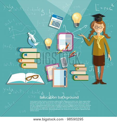 Science And Education, Schoolgirl, Student, Chemistry, Physics, School Uniform, vector