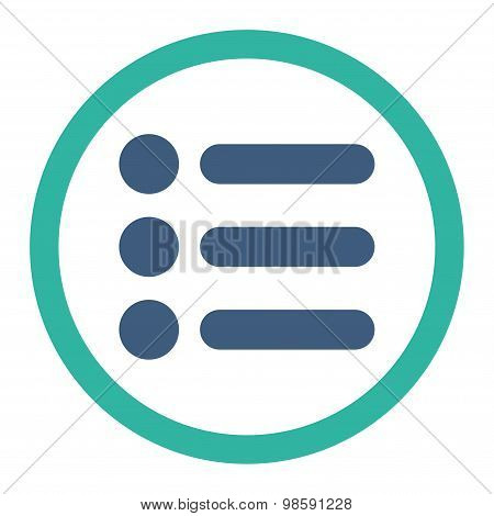 Items flat cobalt and cyan colors rounded vector icon