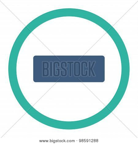Minus flat cobalt and cyan colors rounded vector icon