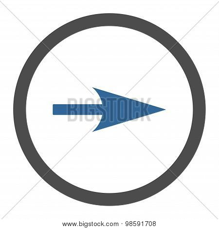 Arrow Axis X flat cobalt and gray colors rounded vector icon